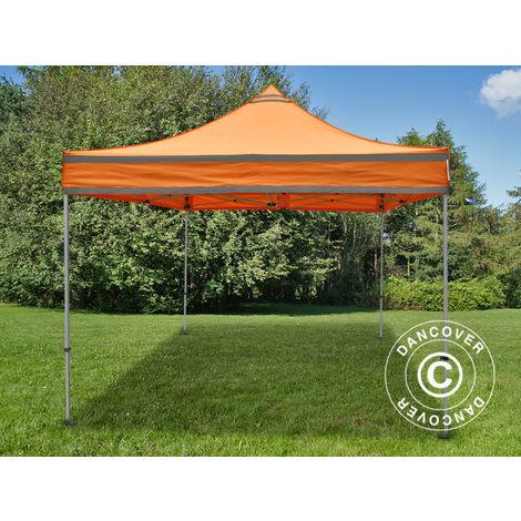 Tente pliante Chapiteau pliable Tonnelle pliante Barnum pliant FleXtents PRO, Tente de chantier 3x3m Orange réfléchissant