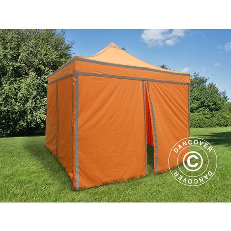 Tente pliante Chapiteau pliable Tonnelle pliante Barnum pliant FleXtents PRO, Tente de chantier 3x3m Orange réfléchissant, avec 4 cotés