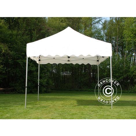 """Tente Pliante Chapiteau pliable Tonnelle pliante Barnum pliant FleXtents PRO """"Wave"""" 3x3m Blanc, avec 4 rideaux decoratifs"""