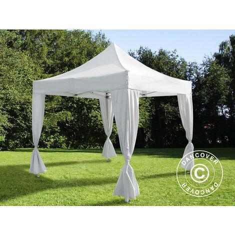 Tente pliante Chapiteau pliable Tonnelle pliante Barnum pliant FleXtents Steel 3x3m Blanc, incl. 4 rideaux decoratifs