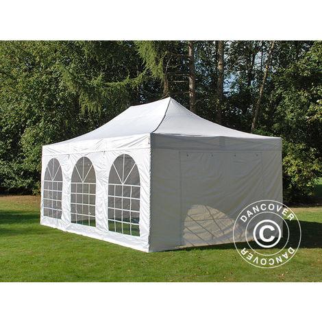 Tente Pliante Chapiteau pliable Tonnelle pliante Barnum pliant FleXtents Steel 4x6m Blanc, avec 4 cotés