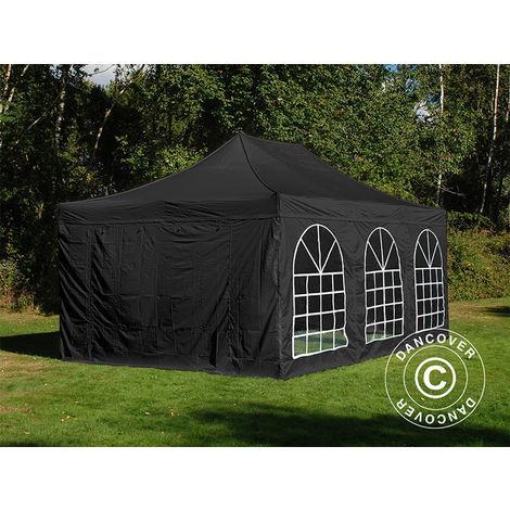 Tente Pliante Chapiteau pliable Tonnelle pliante Barnum pliant FleXtents Steel 4x6m Noir, avec 4 cotés