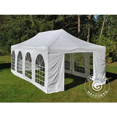 Tente Pliante Chapiteau pliable Tonnelle pliante Barnum pliant FleXtents Steel 4x8m Blanc, avec 4 cotés