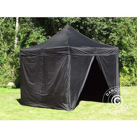 Tente Pliante Chapiteau pliable Tonnelle pliante Barnum pliant FleXtents Xtreme 50 3x3m Noir, avec 4 cotés