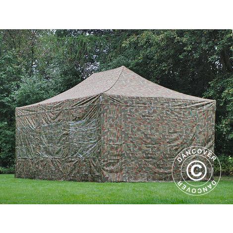 Tente pliante Chapiteau pliable Tonnelle pliante Barnum pliant FleXtents Xtreme 50 4x6m Camouflage, avec 8 cotés
