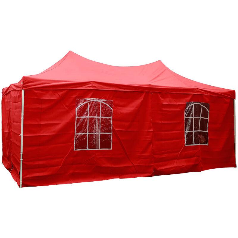 Tente Pliante Tonnelle de jardin 3x6m en Polyester 180g/m² traitée antigel + sac de transport   ROUGE - INTEROUGE