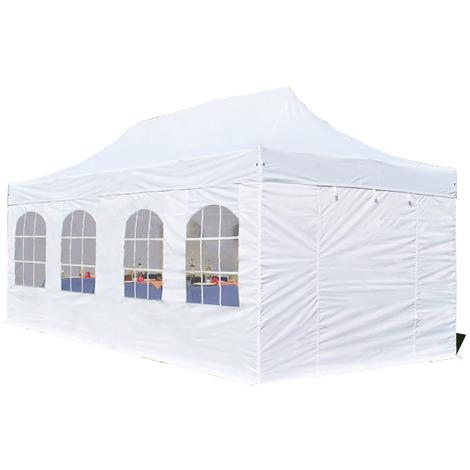 Tente pliante / pliable PREMIUM 3x6 m avec fenêtres en Polyester de qualité blanc