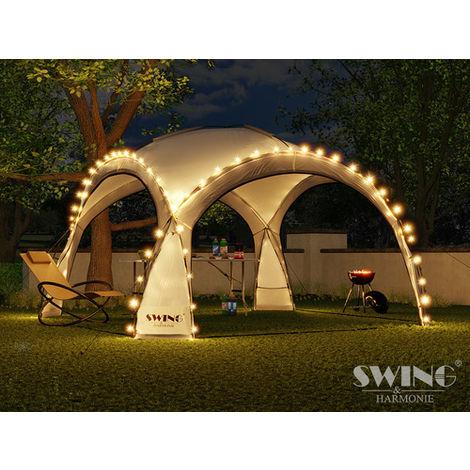 Tente pliante pour événement DOM 3,60x3,60 m éclairage led Swing & Harmonie® anthracite