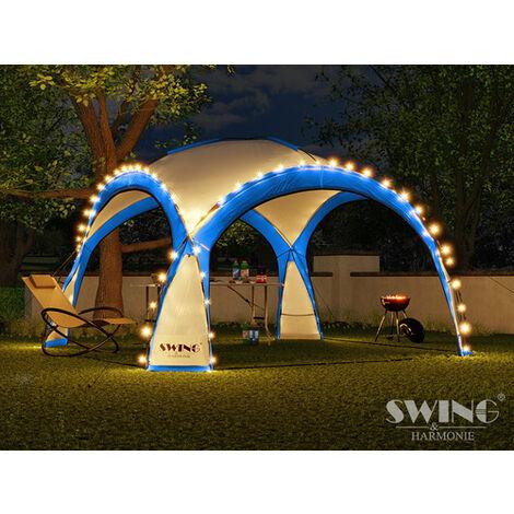 Tente pliante pour événement DOM 3,60x3,60 m éclairage led Swing & Harmonie® bleu