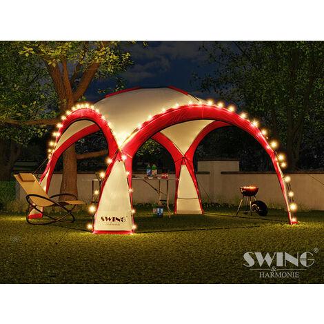 Tente pliante pour événement DOM 3,60x3,60 m éclairage led Swing & Harmonie® rouge