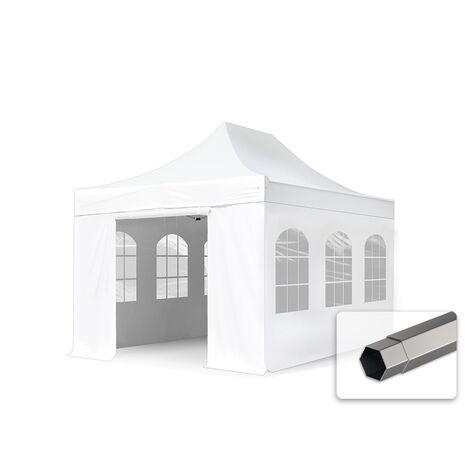Tente pliante tente pliable 3x4,5m - avec fenêtre panoramique PROFESSIONAL toit 100% imperméable tente de jardin pavillon blanc