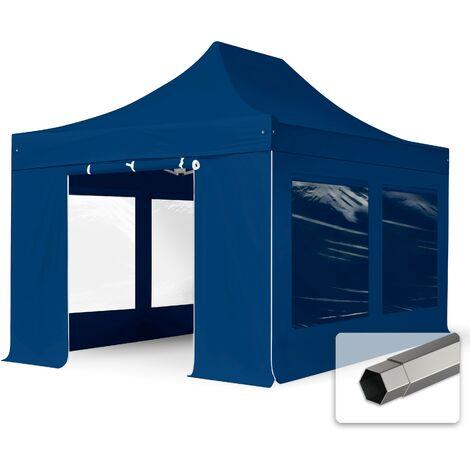 Tente pliante tente pliable 3x4,5m - avec fenêtre panoramique PROFESSIONAL toit 100% imperméable tente de jardin pavillon bleu