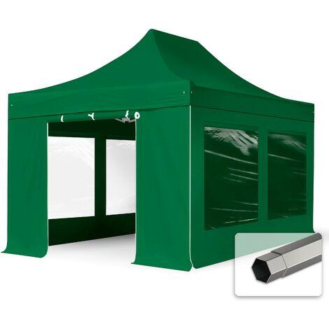 Tente pliante tente pliable 3x4,5m - avec fenêtre panoramique PROFESSIONAL toit 100% imperméable tente de jardin pavillon vert fonce