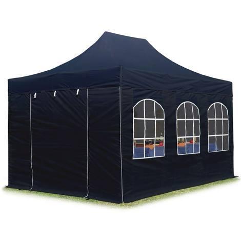 Tente pliante tente pliable 3x4,5m - avec fenêtre PROFESSIONAL toit 100% imperméable tente de jardin pavillon noir