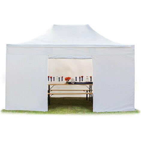 Tente pliante tente pliable 3x4,5m - sans fenêtre PROFESSIONAL toit 100% imperméable tente de jardin pavillon blanc