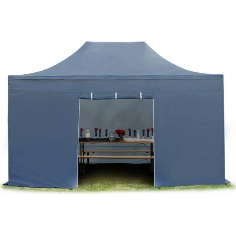 Tente pliante tente pliable 3x4,5m - sans fenêtre PROFESSIONAL toit 100% imperméable tente de jardin pavillon gris fonce
