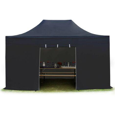 Tente pliante tente pliable 3x4,5m - sans fenêtre PROFESSIONAL toit 100% imperméable tente de jardin pavillon noir
