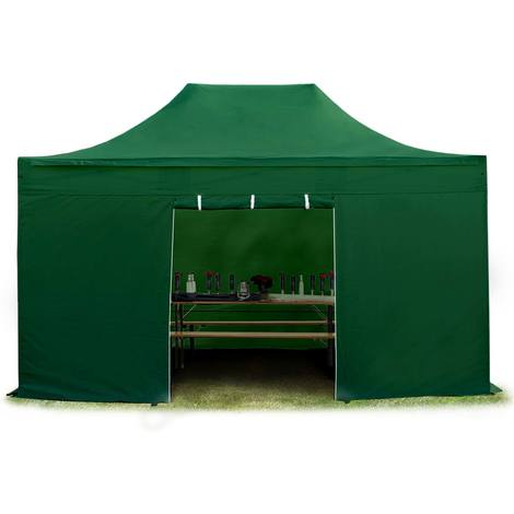 Tente pliante tente pliable 3x4,5m - sans fenêtre PROFESSIONAL toit 100% imperméable tente de jardin pavillon vert fonce