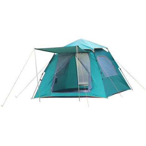 - 2 Chambres 3 fen/êtres Grande Porte Outsunny Tente de Camping familiale 5-6 pers dim 4,55L x 2,3l x 1,8H m Fibre Verre Polyester Oxford Gris