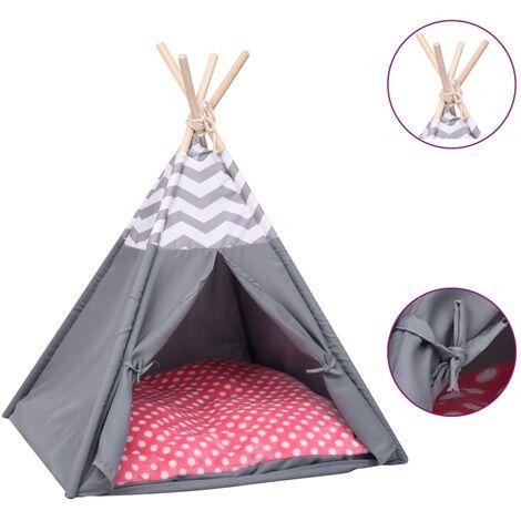 Tente pour chats avec sac Peau de pêche Gris 60x60x70 cm