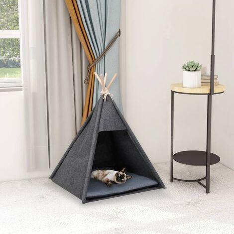 Tente pour chats avec sac Velours Noir 60x60x70 cm