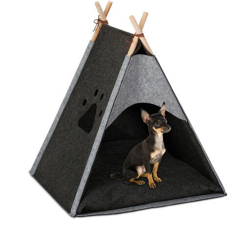 tente pour chiens, grand tipi pour canins et chats, feutre & bois, coussin, 70,5 x 59,5 x 59 cm, gris foncé
