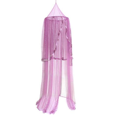 Tente pour enfants dome en maille, chateau de princesse 94,5 pouces de haut, cadeau de decoration de moustiquaire suspendue-violet fonce