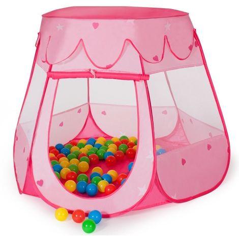 Tente pour enfants Tente rose 100 ballons + sac de bain Tente de jeu Tente bébé Tente princesse