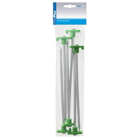 Tentpeg 25cm metal with plastic hook glow-in-the-dark 6 pieces in polybag