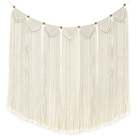 Tenture Murale en macramé Tapestry Fringe Bannière de Guirlande Coton Woven Wall Home Decor for Living Room Wedding Party Bedroom Decoration, 71cm (W) x 119cm (L)