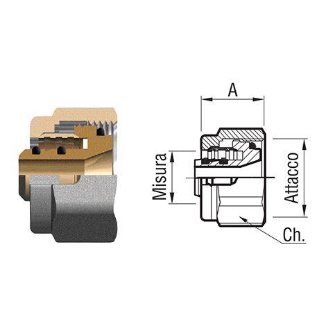 Tenuta fit 16 MONOBLOCCO fil 24x19 tubo multistrato a collettore, 16x2 nichelata.