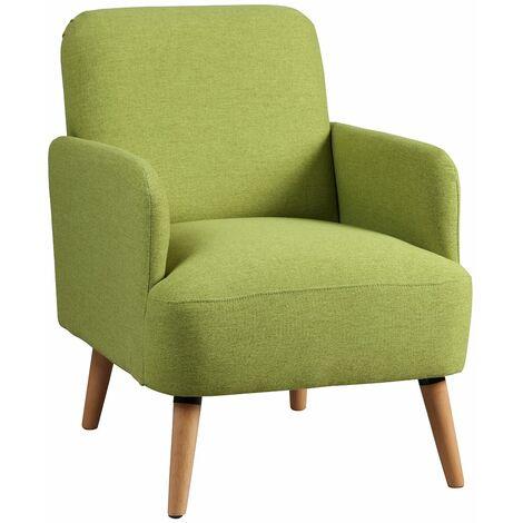 Teodore - Fauteuil Rembourré Tissu Vert - Vert