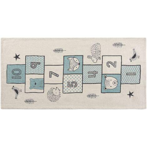 Teppich blau 70 x 140 cm Prinzessin-Stil Hüpfspiel Kinderteppich Kinderzimmer