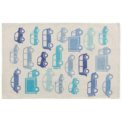 Teppich Blau Baumwolle 70 x 140 cm Fahrzeugmotiv Kinderteppich Kinderzimmer