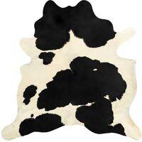 Teppich Echtes Kuhfell Schwarz und Weiß 150×170 cm