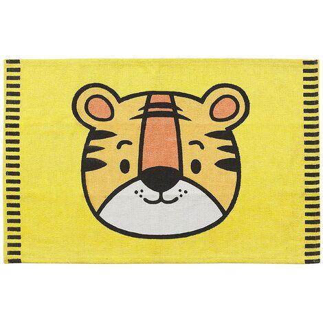 Teppich Gelb 60 x 90 cm Baumwolle Tigermotiv Kinderteppich Kinderzimmer