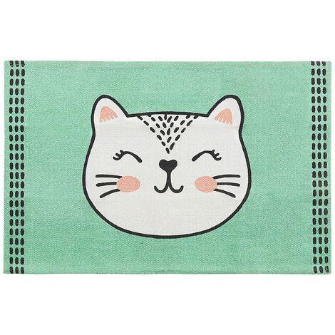 Teppich Grün 60 x 90 cm Baumwolle Katzenmotiv Kinderteppich Kinderzimmer