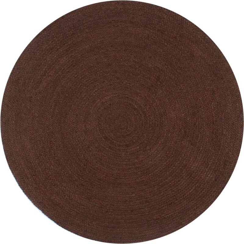 Teppich Handgefertigt Jute Rund 120 Cm Braun