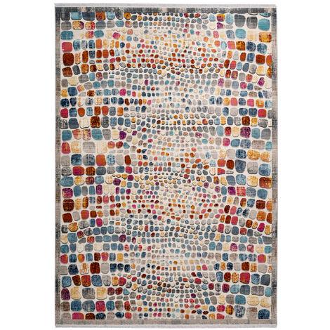 Teppich Modern Bunt Mit Fransen Kinderteppich Kinderzimmer Stein