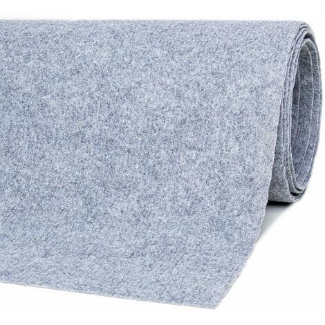 Teppichboden Bodenbelag 200x600 cm Grau Nadelfilz Rips