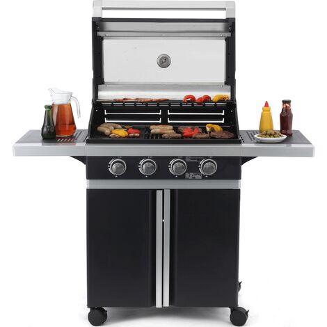Tepro Gasgrill Glassboro Grillwagen 4-Brenner Outdoor Cooking Gas Grill schwarz