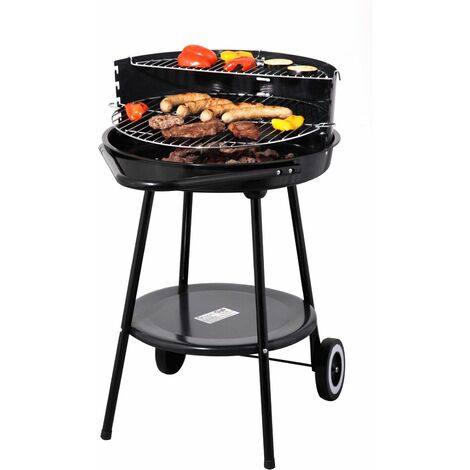 Tepro Holzkohlengrill Rundgrill Highland Barbecue Grill mit Rollen