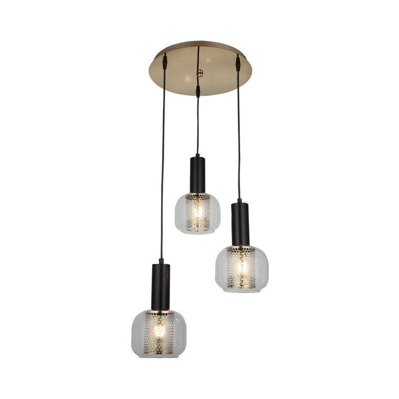 Homemania - Tepto Haengelampe - Kronleuchter - Deckenkronleuchter - Gold, Schwarz aus Metall, Glas, 38 x 38 x 90 cm, 3 x E27, 40W