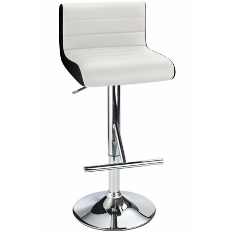 Terfa Breakfast Bar Stool - White Seat And Contrasting Side Panels, Height Adjustable White