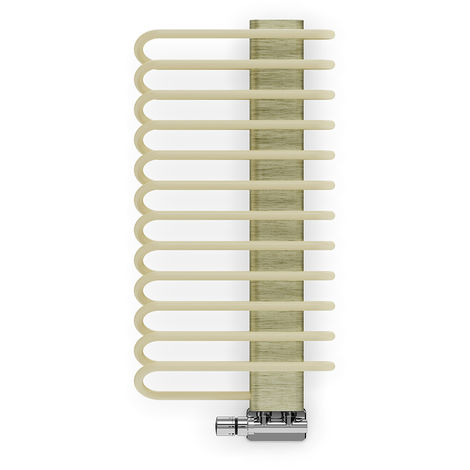 Terma Michelle Sparkling Cream and Brushed Brass Designer Heated Towel Rails 780mm x 400mm