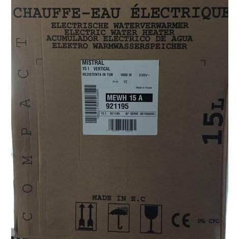 Termal 921 195 - vertikaler elektrischer Wassererhitzer 15L 230V 1600W