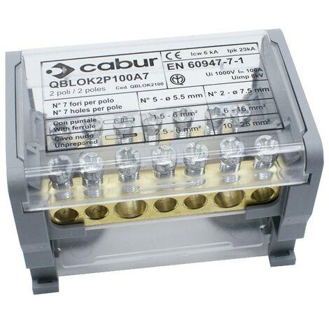 Terminal de distribución Cabur 100A 2P 1000VDC 7F QBLOK2100