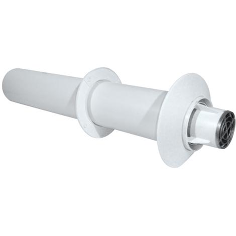 Terminal horizontal CONCENTRIQUE - Couleur : Blanc - L 850 mm + rosaces int/ext.