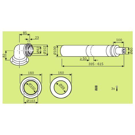 Terminal télescopique blanc horizontal avec prises de mesures (395 à 615 mm) - AZB 1348