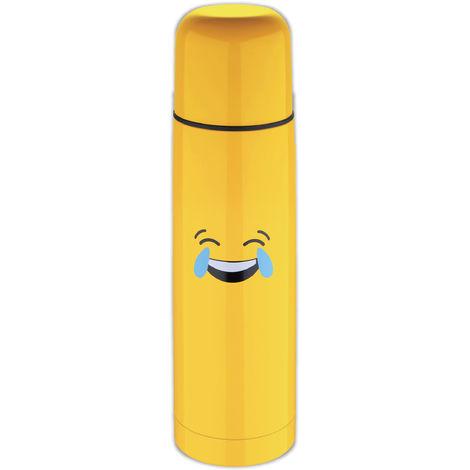 Termo Amarillo 28,5 cm (750ml) en acero inoxidable, risa lloro - Emoticonworld